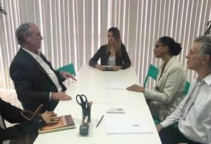 Os ex-candidatos à Presidência Ciro Gomes e Marina Silva se reúnem em Brasília Foto: Reprodução/Twitter
