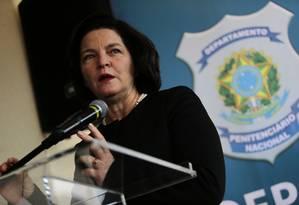 A procuradora-geral da República, Raquel Dodge, na inauguração da penitenciária federal de Brasília Foto: Jorge William/Agência O Globo/16-10-2018