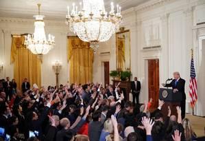 Trump em entrevista coletiva após as eleições: presidente fica mais forte dentro do Partido Republicano Foto: MANDEL NGAN / AFP