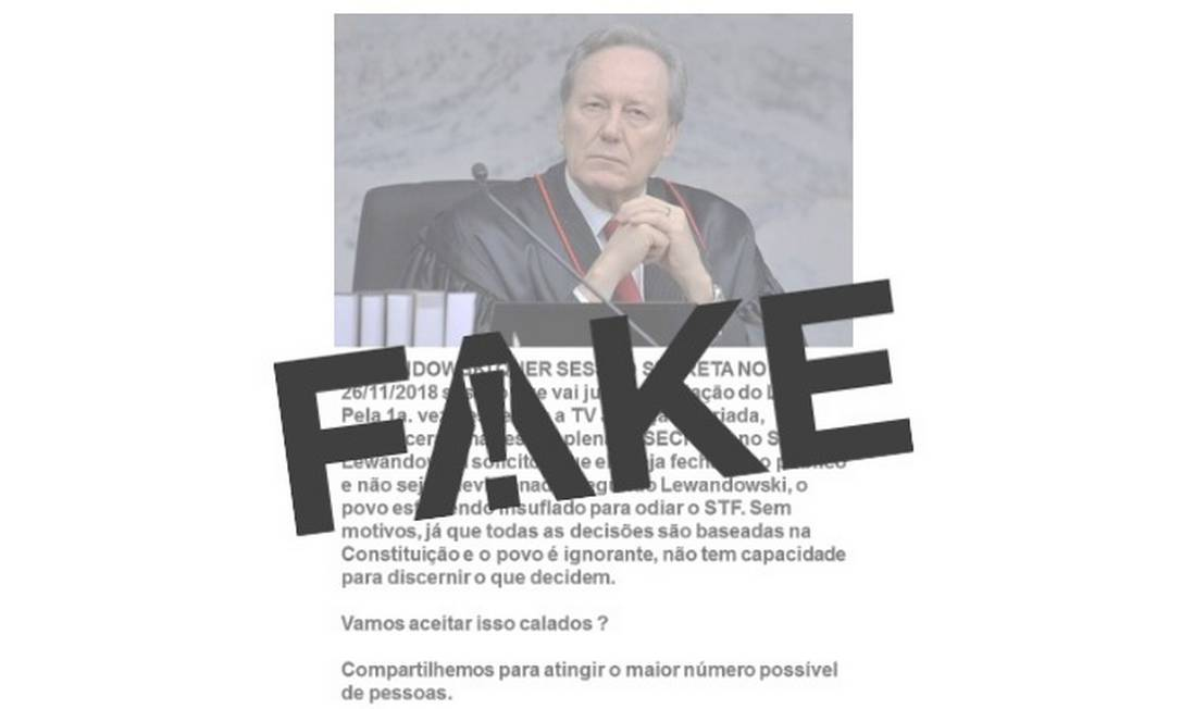 Mensagem falsa sobre julgamento secreto está circulando nas redes sociais Foto: Reprodução