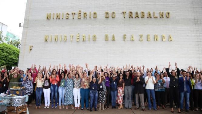 Ato dos servidores contra extinção da pasta Foto: Edu Andrade / Ascom/ Ministério do Trabalho