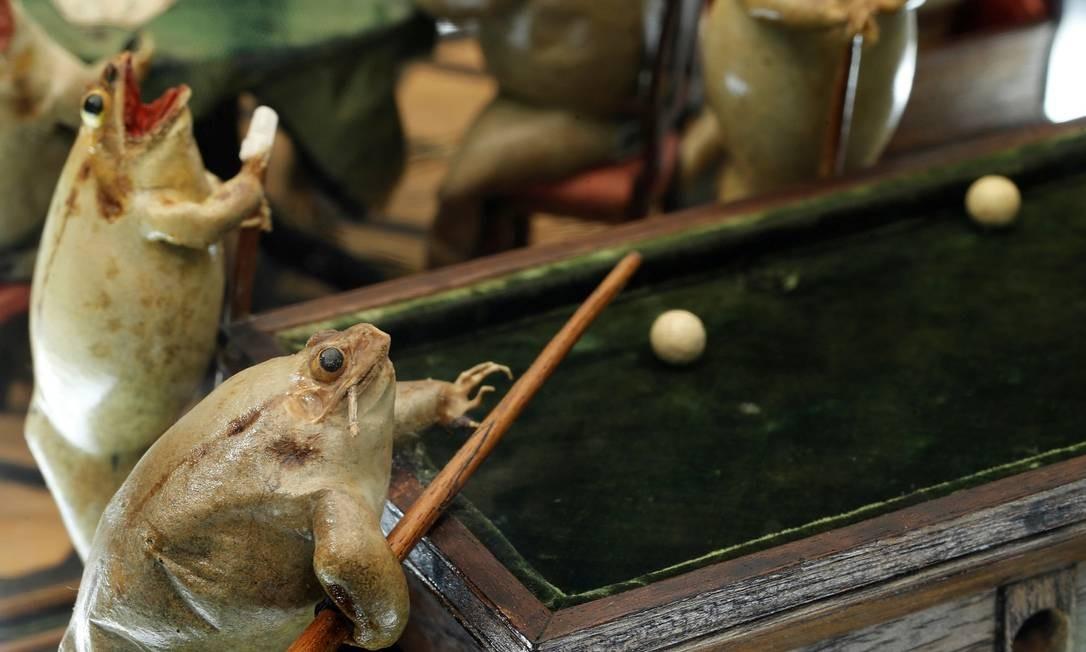 Sapos jogando sinuca no Frog Museum, que tem uma coleção de 108 peças reproduzindo o animal em cenas da vida cotidiana no século XIX. As obras são de François Perrier Foto: Denis Balibouse / REUTERS