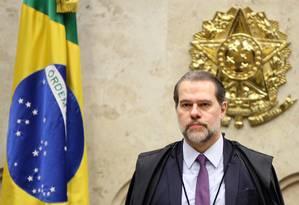 O presidente do STF, ministro Dias Toffoli, durante sessão Foto: Nelson Jr./STF