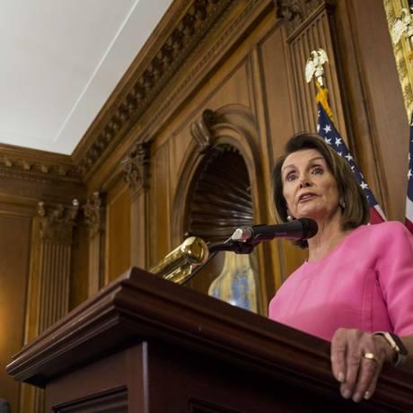 Líder da minoria democrata na Câmara dos Representantes, Nancy Pelosi Foto: Zach Gibson / AFP