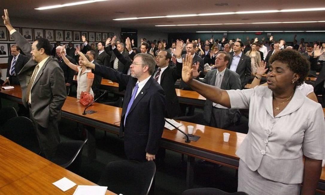 Culto da bancada evangélica na Câmara Foto: André Coelho / Agência O Globo