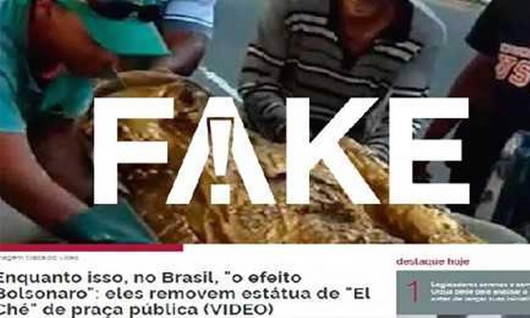 """Não é verdade que estátua foi retirada por """"efeito Bolsonaro"""" Foto: Reprodução"""
