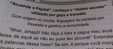 """Questão tratou do Pajubá, dialeto """"secreto"""" usado por travestis Foto: Reprodução"""