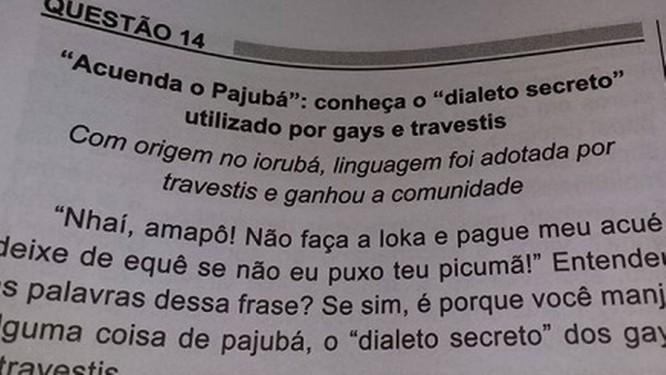Questão tratou do Pajubá, dialeto