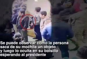 Vídeo mostra jovem acusado de tentar agredir o presidente da Bolívia, Evo Morales, em Potosí Foto: Reprodução