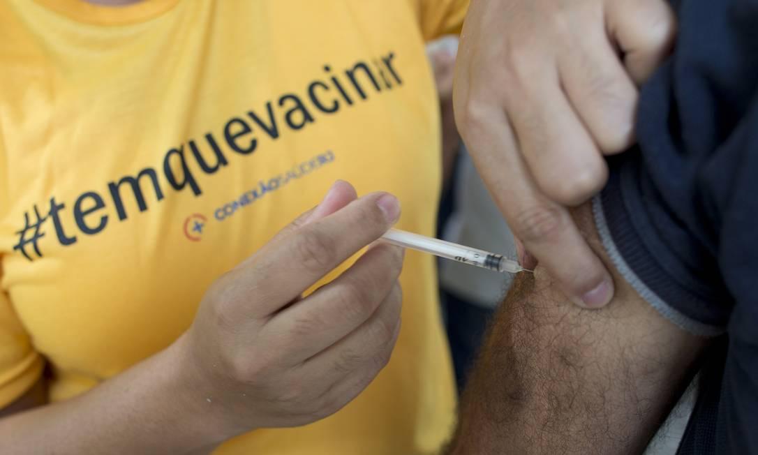 RI Rio de Janeiro (RJ) 26/01/2018 Campanha Dia D de vacinação contra a febre amarela. Uma tenda foi montada no Parque dos Patins, na Lagoa. Foto de Márcia Foletto / Agência O Globo Foto: Márcia Foletto / Agência O Globo