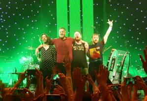 O grupo Imagine Dragons no palco do Roundhouse, em Londres Foto: Drew de F Fawkes /