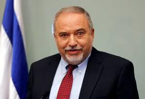 Ministro da Defesa de Israel, Avigdor Lieberman, anuncia sua renúncia em Jerusalém Foto: AMMAR AWAD / REUTERS