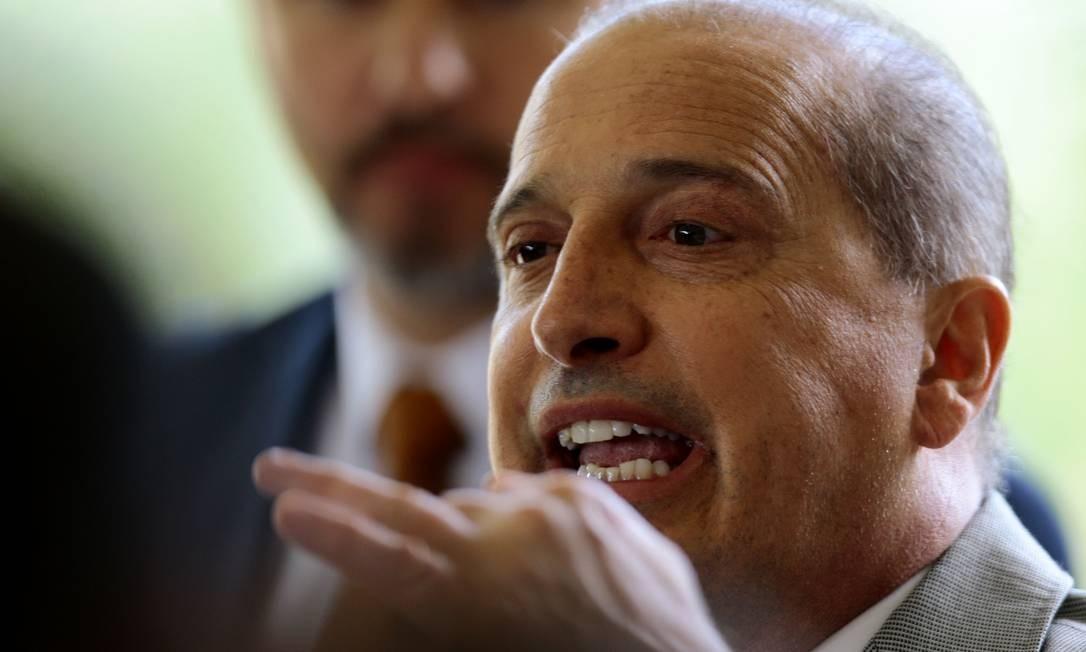 O ministro extraordinario da transição, Onyx Lorenzoni, durante pronunciamento no CCBB Foto: Jorge William / Agência O Globo