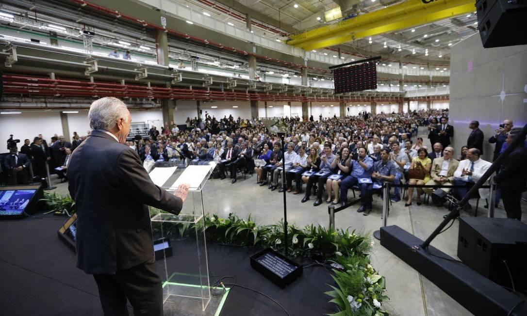 O presidente Michel Temer discursa durante inauguração de primeira etapa do projeto Sirius Foto: Divulgação