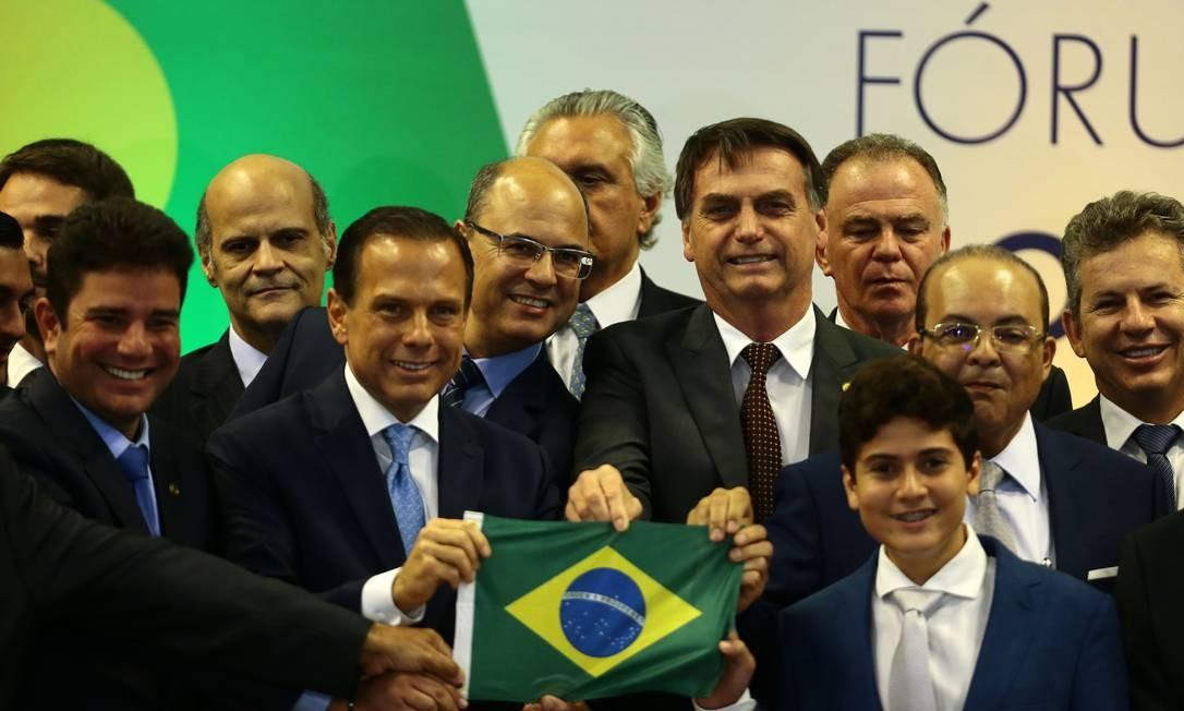 O presidente eleito Jair Bolsonaro encontra-se com governadores eleitos em Brasília Foto: Jorge William / Agência O Globo