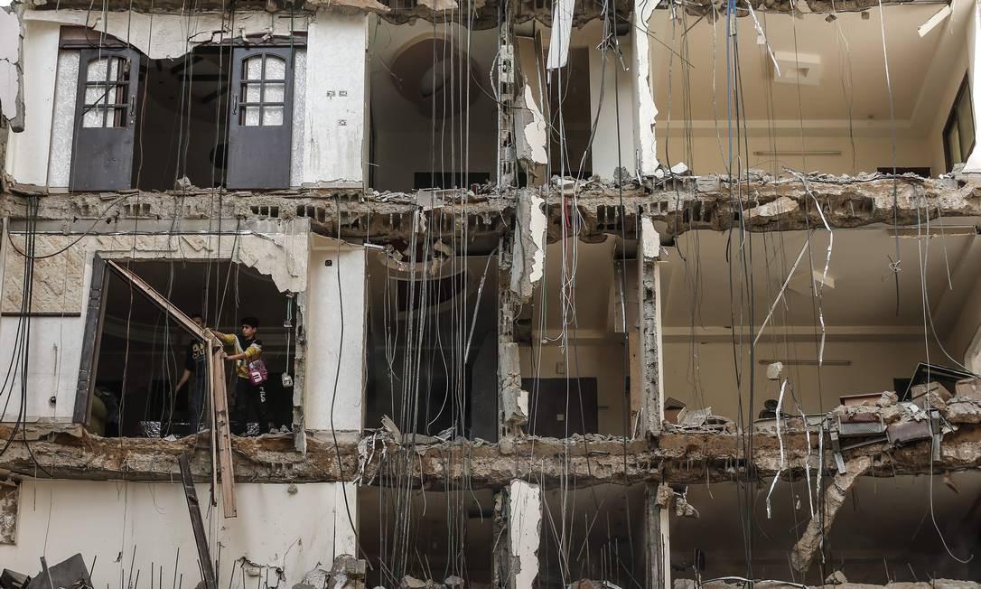 O cessar-fogo realizado é o pior desde a guerra de 2014 Foto: MAHMUD HAMS / AFP