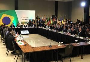 Reunião do presidente eleito Jair Bolsonaro e a equipe de transição com governadores Foto: Jorge William / Agência O Globo