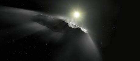 Uma interpretação artística do objeto nomeado Oumuamua Foto: M. KORNMESSER / AFP