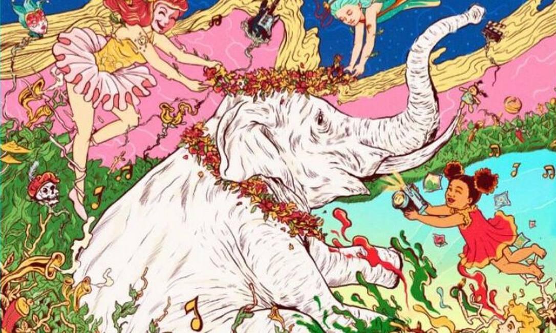O elefante colorido da publicidade da Cidade das Artes Foto: Reprodução