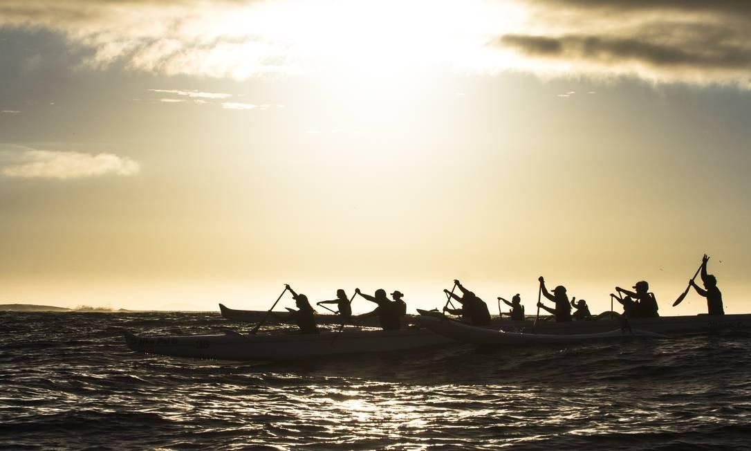 Integrantes da Mauna Loa participam do primeiro treino do dia em Itaipu Foto: Thiago Freitas / Thiago Freitas