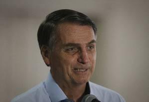 O presidente eleito Jair Bolsonaro, durante entrevista coletiva Foto: Pablo Jacob / Agência O Globo