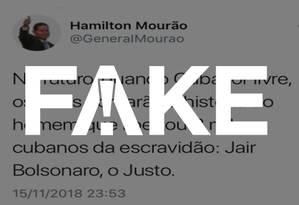 Post atribuído ao general Mourão é #FAKE Foto: Reprodução