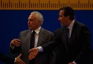 O presidente Michel Temer e ministro da Saude, Gilberto Occhi Foto: Daniel Marenco / Agência O Globo