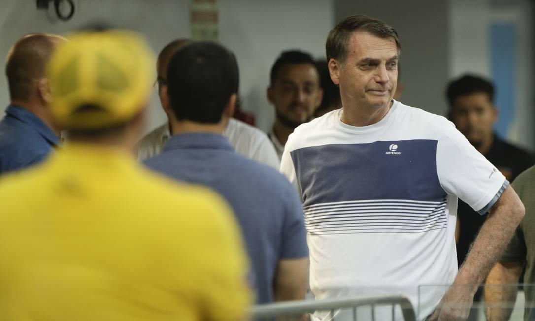 Jair Bolsonaro em um campeonato de jiu-jítsu na Barra Foto: Gabriel de Paiva / Agência O Globo/18-11-2018