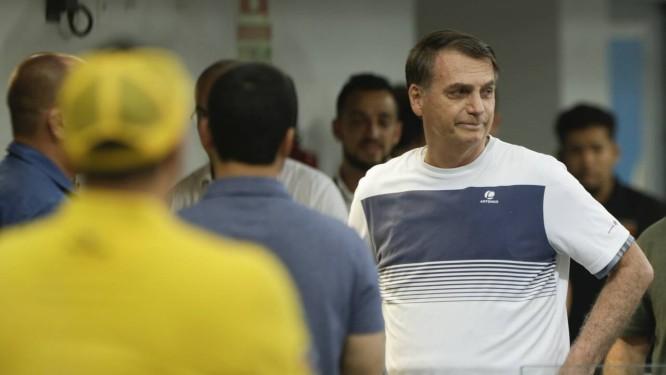Jair Bolsonaro em um campeonato de jiu-jítsu na Barra Foto: Gabriel de Paiva / Agência O Globo