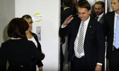 Jair Bolsonaro bateu continência para Raquel Dodge ao chegar na sede da Procuradoria da República Foto: Jorge William / Agência O Globo