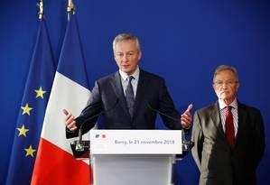 O ministro de Finanças da França, Bruno Le Maire, fala durante coletiva à imprensa sobre a situação da Renault após prisão de Carlos Ghosn Foto: CHRISTIAN HARTMANN / REUTERS