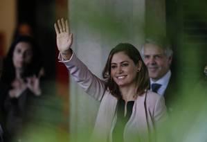 A futura primeira dama, Michelle Bolsonaro, ao chegar no CCBB, em Brasília Foto: Jorge William / Agência O Globo