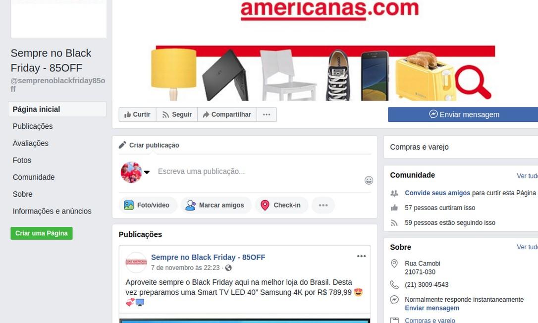 Site falso usa marca da Americanas.com para roubar dados dos consumidores Foto: Reprodução