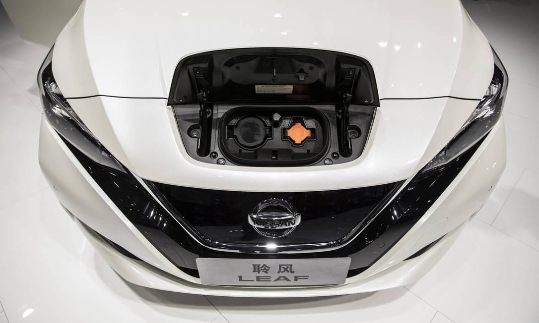 Veículo elétrico da Nissan numa feira do setor na China: indústria global de carros tem novos paradigmas Foto: Qilai Shen / Bloomberg
