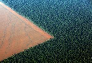 Floresta delimitada por terras desmatadas para o plantio de soja no Mato Grosso Foto: PAULO WHITAKER / Reuters/4-10-2015