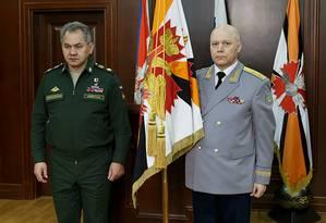 Em Moscou, ministro da Defesa russo Sergei Shoigu ao lado de Igor Korobov, chefe de agência de inteligência Foto: HANDOUT 02-02-2016 / REUTERS