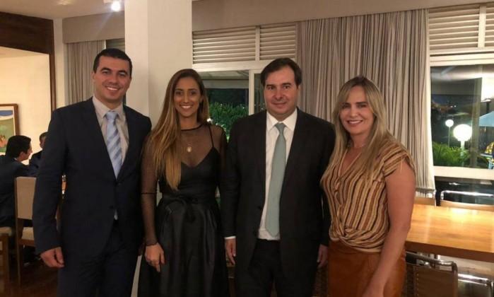 O presidente da Câmara, Rodrigo Maia (DEM-RJ), e três deputados federais eleitos pelo Distrito Federal: Luís Miranda (DEM), Flávia Arruda (PR) e Celina Leão (PP) Foto: Reprodução