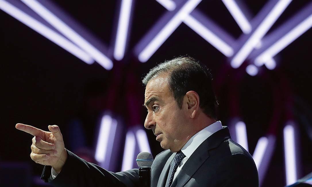Carlos Ghosn, principal executivo da aliança Renault-Nissan-Mitsubishi, perdeu o emprego e foi preso no Japão Foto: Krisztian Bocsi / Bloomberg/Getty Images