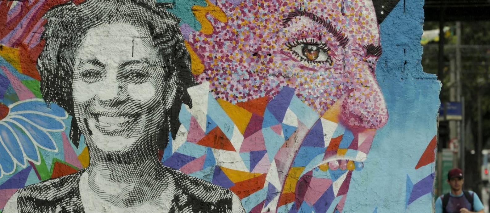 RI Rio de janeiro (RJ) 17/08/2018 - Grafite em homenagem a Marielle Franco na rua João Paulo I, no Rio Comprido. Foto de Gabriel de Paiva / Agência O Globo Foto: Gabriel de Paiva / Agência O Globo