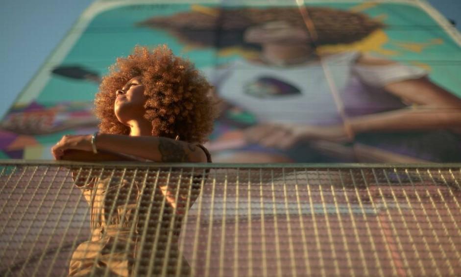 Lídia Viber: pintura no mural do Inca Foto: Divulgação/Carlos Baptista