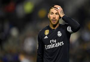 Sergio Ramos em partida do Real Madrid Foto: MIGUEL RIOPA / AFP