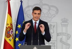 Presidente do governo da Espanha, Pedro Sánchez faz pronunciamento sobre Gibraltar e Brexit Foto: SERGIO PEREZ / REUTERS