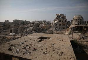 Edifícios destruídos pela guerra civil da Síria em Aleppo Foto: AAREF WATAD / AFP