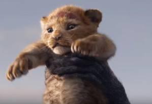 Simba aparece sendo levantado por Rafiki no trailer de 'O rei Leão' Foto: Reprodução/YouTube