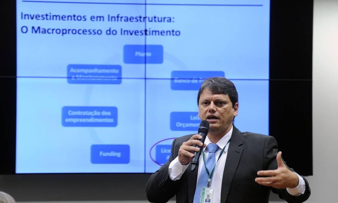 Tarcísio Gomes de Freitas na CPI da Funai, em fevereiro de 2016 Foto: Luis Macedo / Divulgação/Câmara
