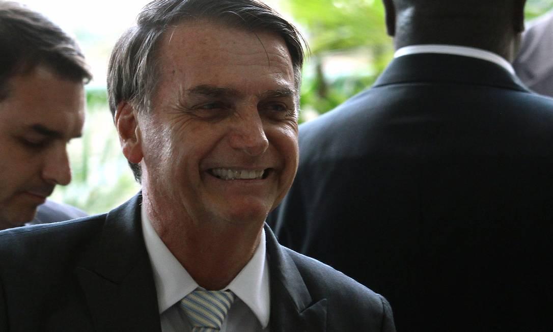 O presidente eleito, Jair Bolsonaro durante entrevista coletiva em Brasília Foto: Jorge William / Agência O Globo