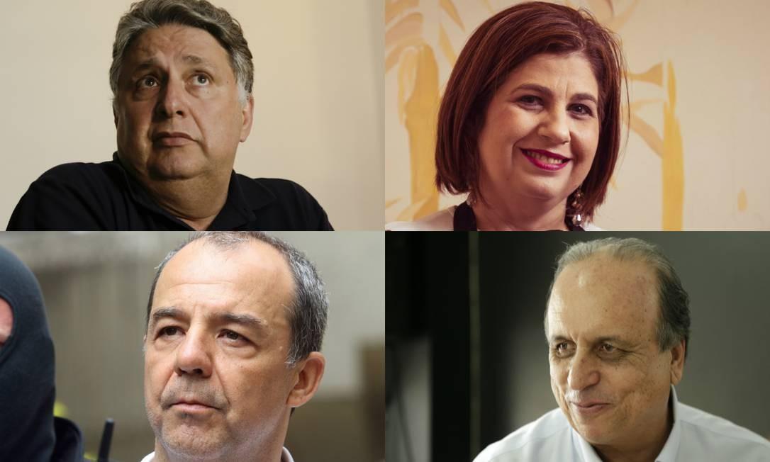 Anthony Garotinho, Rosinha Garotinho, Sérgio Cabral e Luiz Fernando Pezão: todos os governadores eleitos desde 1998 foram presos Foto: Agência O Globo