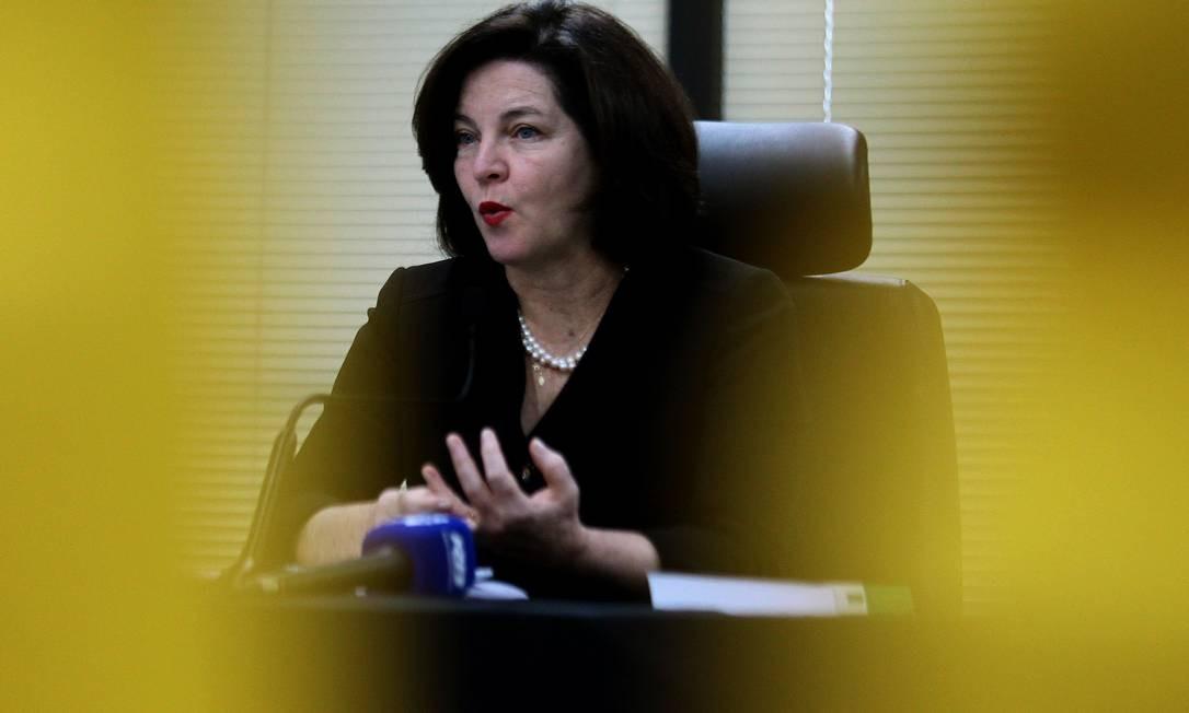 A procuradora-geral da República, Raquel Dodge, durante entrevista sobre a prisão do governador Luiz Fernando Pezão Foto: Jorge William / Agência O Globo
