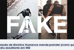 É fake que Comissão de Direitos Humanos mandou prender jovem que agrediu assaltante em MG Foto: Reprodução