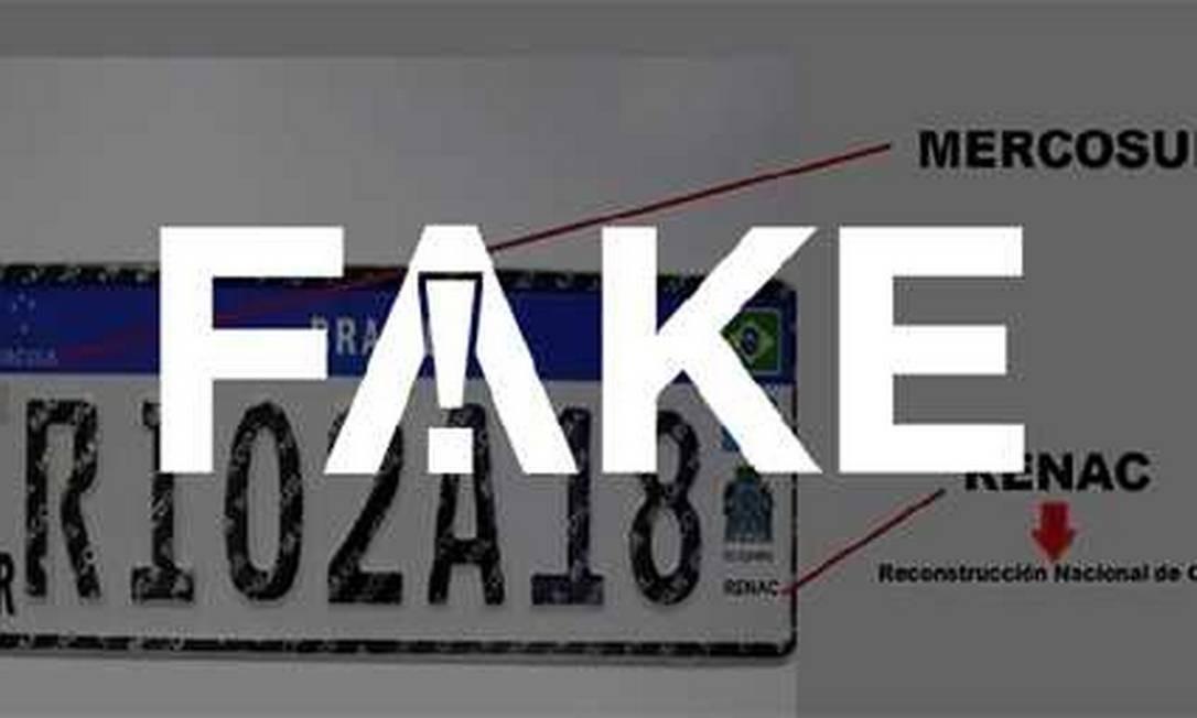 Placa Mercosul com falso logo de instituição chamada Renac Foto: Reprodução